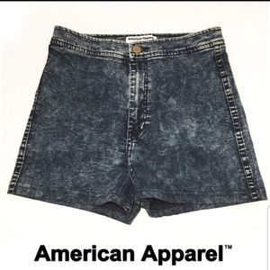 High waisted acid wash jeans shorts